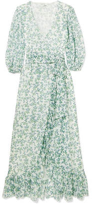 Ganni Tilden Floral-print Mesh Wrap Dress - Sky blue