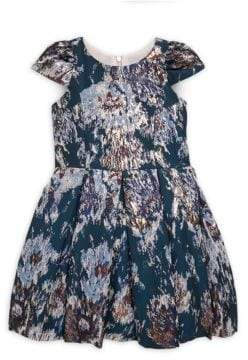 Girl's Metallic Brocade Box Pleat Velvet Dress