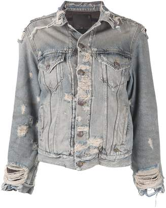 R 13 ripped denim jacket