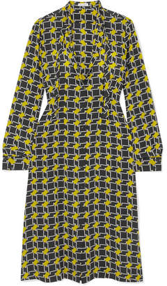 Tomas Maier Pussy-bow Printed Silk Crepe De Chine Midi Dress - Yellow