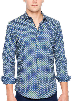 Jf J.Ferrar Long Sleeve Pattern Button-Front Shirt