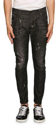 Dsquared2 Tidy Biker Distressed Jeans, Black $660 thestylecure.com