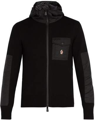 Moncler Hooded zip-through wool-blend jacket