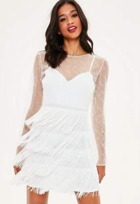 Missguided White Beaded Tassel Trim High Neck Bodycon Dress