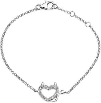 FINE JEWELRY Crystal Sterling Silver Devil Heart Adjustable Bracelet