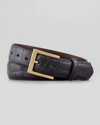 W.KLEINBERG W. Kleinberg Matte Alligator Belt, Black