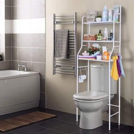 faceto 3 Tiers Bathroom Space Saver Towel Storage Rack Organizer White Iron Shelf