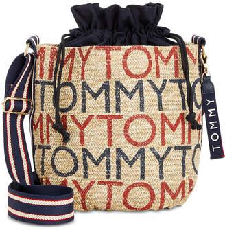 Tommy Hilfiger Camden Printed Logo Straw Medium Crossbody