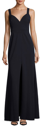Vera Wang Sleeveless Deep V-Neck Gown, Navy $189 thestylecure.com