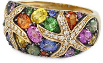 Effy Tsavorite Multicolour Sapphire and 14K Yellow Gold Ring with 0.22 TCW Diamonds