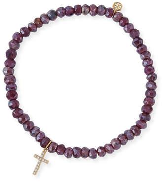 Sydney Evan Mystic Rhodolite Garnet Beaded Bracelet with Diamond Cross Charm