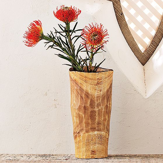 Raw Wood Tall Vase