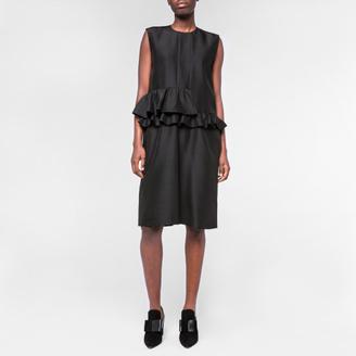 Women's Black Wool-Silk Peplum-Frill Dress $510 thestylecure.com