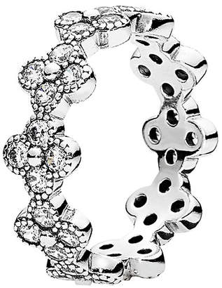 Pandora Oriental Blossom Silver Cz Ring