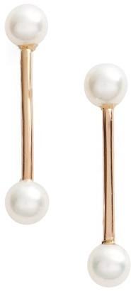Women's Poppy Finch Pearl Bar Stud Earrings $230 thestylecure.com
