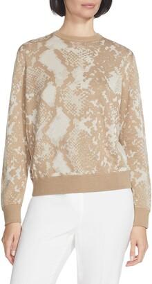 Lafayette 148 New York Snake Jacquard Silk Blend Sweater