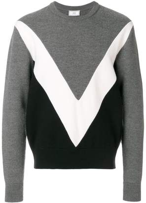 Ami Alexandre Mattiussi Tricolor Crew Neck Sweater With Contrasted Bands