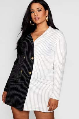 boohoo Plus Bea Contrast Stripe Button Up Blazer Dress