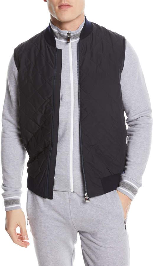 Z Zegna Quilted Zip-Front Hybrid Vest