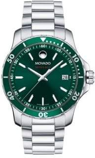 Movado Men's 800 Series Green Dial, Stainless Steel and Aluminum Bracelet Watch - Green Silver
