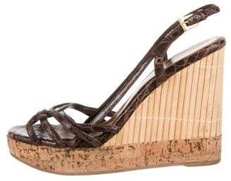 Prada Embossed Platform Wedges