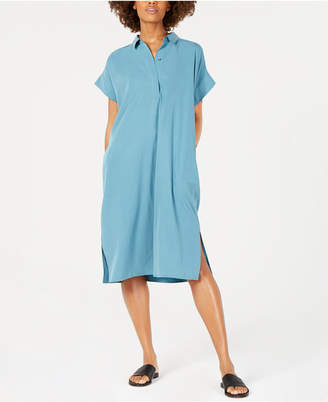 Eileen Fisher Classic Midi Tencel and Recycled Polyester Shirtdress, Regular & Petite