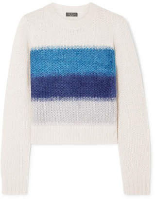 Rag & Bone Holland Cropped Striped Knitted Sweater - White