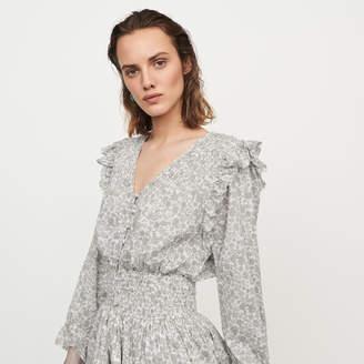 Maje Short floral-print ruffled dress