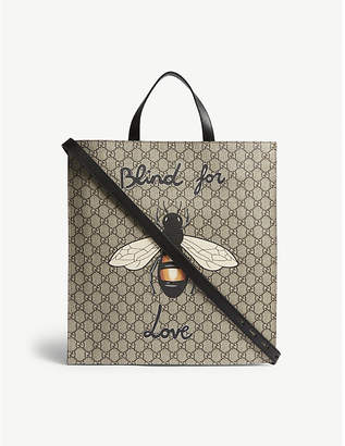 Gucci Bestiary Bee GG Supreme canvas tote