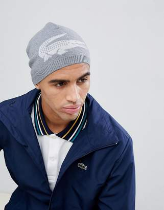 Lacoste large logo beanie in grey