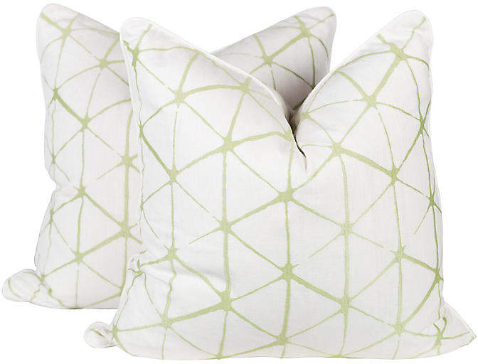 Citrus Geo Embroidered Linen Pillows