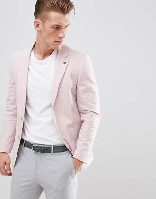 Burton Menswear Regular Fit Linen Blazer In Pink