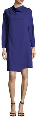 Joan Vass Long-Sleeve Drape-Front Knit Dress, Petite