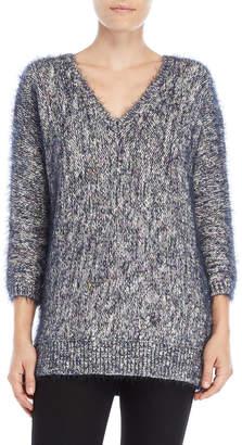Lilla P Fuzzy Confetti V-Neck Sweater