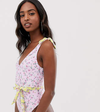 Asos Tall DESIGN Tall recycled tie shoulder belted swimsuit in pretty pastel floral print