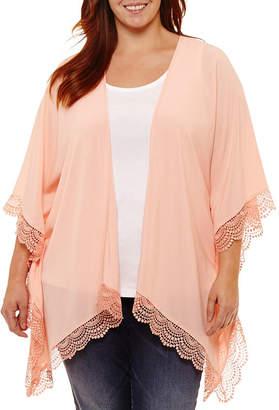 ST. JOHN'S BAY Short Sleeve Lace Trimmed Kimono - Plus