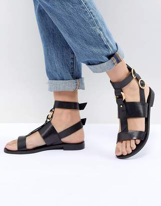 Office Shadow Black Leather Sandals