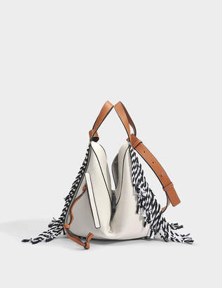 Loewe Hammock Scarf Small Bag in Soft White, Tan and Black Soft Grained Calf and Cotton