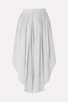 Chloé Cropped Silk Crepe De Chine Wide-leg Pants - Gray