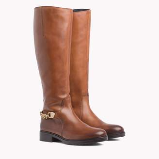 Tommy Hilfiger Tall Leather Boot With Ankle Chain