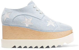 Stella McCartney Elyse Embroidered Denim Platform Brogues - Light denim
