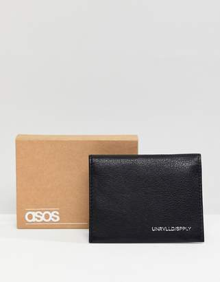 Asos Design DESIGN leather cardholder in black with silver emboss