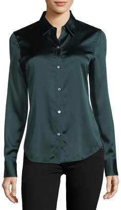 Theory Perfect Fitted Button-Front Stretch-Satin Shirt