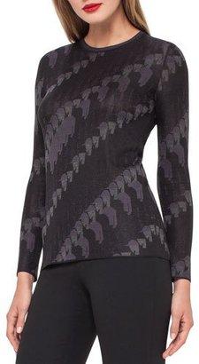Akris Jockey-Jacquard Crewneck Sweater, Black/Lure $995 thestylecure.com