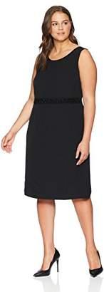 Kasper Women's Plus Sleeveless Dress with Embellished Waist Detail