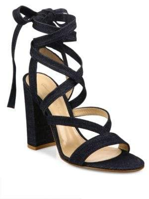 Gianvito Rossi Denim Lace-Up Gladiator Sandals