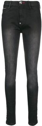 Philipp Plein logo rhinestone embellished jeans