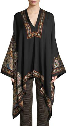 Etro V-Neck Full-Sleeve Embroidered Wool Poncho