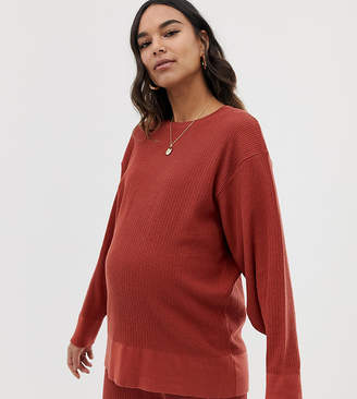 Asos DESIGN Maternity premium lounge knitted dropped sleeve sweat