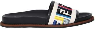 Fendi 20mm Embroidered Canvas Slide Sandals